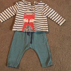 Fox shirt with matching pants for baby girl
